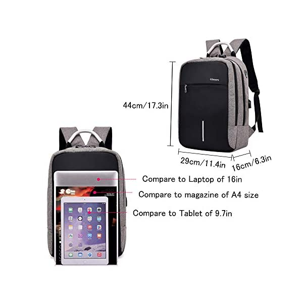 Gimars-Mochila Unisex Casual antirrobo Mochila Oficina Trabajo portatil Ordenador portatil 15.6 Pulgadas Mochila…