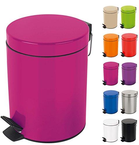 Spirella Kosmetikeimer 'Sydney Pink' Mülleimer Treteimer Abfalleimer - 5 Liter – mit herausnehmbaren Inneneimer