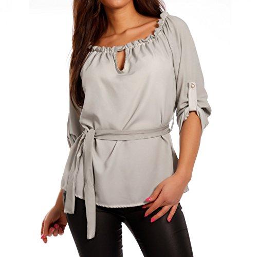 Made Italy Damen Carmenshirt mit Bindegürtel, Farbe:Grau;Größe:One Size (34/36/38)