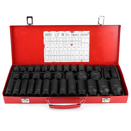 35Pcs 1/2 Inch Socket Wrench Set, Screwdriver Bit Metric Set, Hex Bit Socket Sleeve Sets for Car Bicycle Motor Repair Tool Box Set, Chrome Vanadium Steel