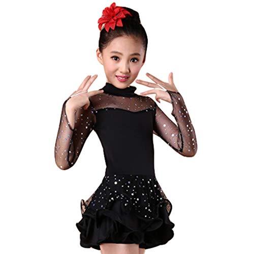 Vestito da Ballo Latino Bambina Danza Abbigliamento Salsa Tango Costume Tutu Bambini Lustrino Ragazze Prestazione Competizione Dancewear