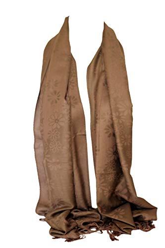 Bullahshah Daisy Blumendruck zwei doppelseitige Reversible Soft Pashmina fühlen Wrap Schal, Kopftuch, Hijab Stola (Mokka Brown)