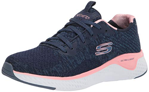 Skechers Solar Fuse-Brisk Escape, Zapatillas Mujer, Multicolor (NVPK Black Knit Mesh/Lime & Light Blue Trim), 36.5 EU