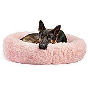 Best Friends by Sheri The Original Calming Donut Cat and Dog Bed in Shag Fur, Machine Washable, Removable Zippered Shell, for Pets up to 100 lbs – Large 36″x36″ in Cotton Candy Pink
