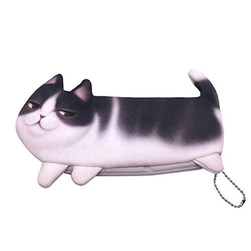 Lovemay 1 mini trousse à maquillage en forme de chat - Pour cosmétiques, pièces de monnaie et clés - 22,5 x 11 cm