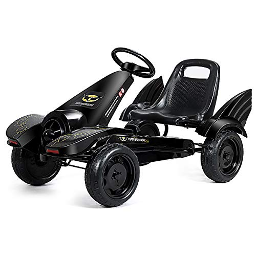 Costzon Pedal Go Kart, Pedal Powered Kids Ride on Car Toy, Children's 4 Wheels Riding Car w/ Adjustable Seat, Foot Pedal, for Boys & Girls Age 3 to 8 Years Old, Indoor & Outdoor (Carbon Black Turbine)