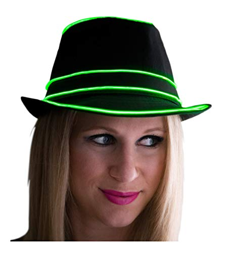 NEON NIGHTLIFE Light Up Fedora, Small/Medium, Green