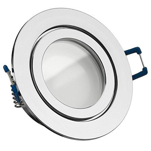 IP44 LED Einbaustrahler Set Chrom mit LED GU5.3 MR16 5W warmweiss Feuchtraum Badezimmer Spritzwasserschutz