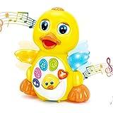 HOLA Musik Kinderspielzeug ab 1 Jahr Mädchen Junge, Drücken & Los Tanzende Singender Krabbeln Gelbe Ente Baby Spielzeug 6 12 18 24 Monate mit Licht & Klang, Lernspielzeug Geschenk 1 2 3 Jahre