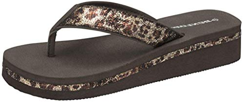 Dunlop Flip-Flops für Damen, Braun / Beige, mit Keilabsatz, Zehensteg, Schwarz - Leo - Größe: 38 EU