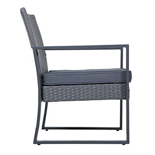 SVITA LOIS XL Poly Rattan Sitzgruppe Gartenmöbel Metall-Garnitur Bistro-Set Tisch Sessel grau - 5