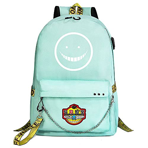 ZZGOO-LL Assassination Classroom With chain USB Anime Zaini backpack Scuola per Uomo Donna, Lavoro, Tablet Unisex Green-D