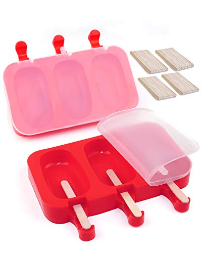 Silicone Popsicle Molds BPA-Free, Ice Pop Molds with Lids Packs of 2x3 Cavities for Kids, Cake/Ice Cream/Popsicle Maker Easy Release, with 80 Popsicle Sticks by MoHern (Red)