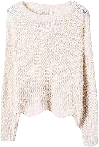 Suéter casual de las mujeres de punto cálido dobladillo de la onda cuello redondo manga larga Shaggy suéteres