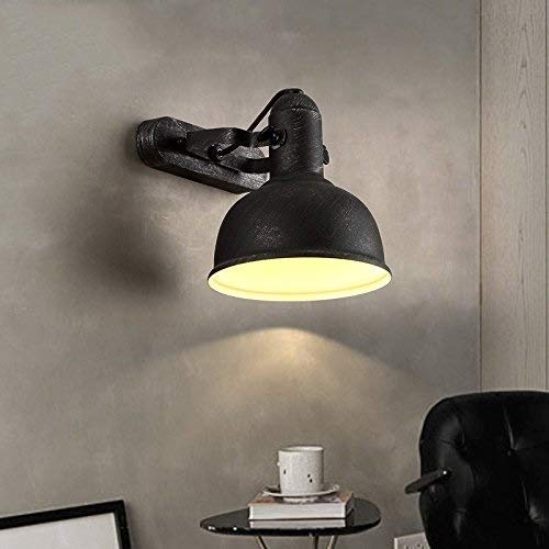 YANGQING Light Lamp Industrial Vintage Style Wall Lamp With Round Metal Dome Shape With Retro Shading, For Interiors, With Adjustable Head, Brushed Black Color