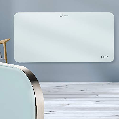 NETTA Electric Panel Heater 1000W, Slimline Glass Heater, Wall Mounted Electric Heater Or Free Standing, With Thermostat, Eco Friendly Mode, White.