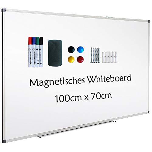 XIWODE Whiteboard mit Stiftablage, Pinnwand Tafel, Magnettafel, beschreibbar und magnetisch, mit kratzfeste Oberfläche, 100cm x 70cm