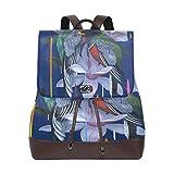 Vogel-Rucksack für Damen, modisch, PU-Leder