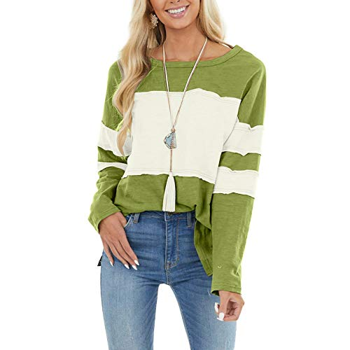 Damen Oberteil T-Shirt O-Ausschnitt Langarm Farbnähte Blusen Pullover Tops...