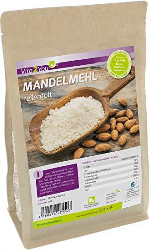 Mandelmehl 750g - teilentölt - wenig Kohlenhydrate - hoher Proteingehalt - feines Pulver - im Zippbeutel - Premium Qualität