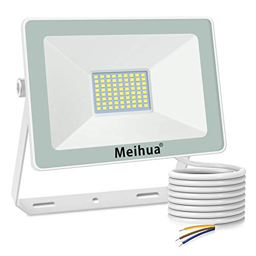 MEIHUA 60W LED Strahler Außen, Superhell Scheinwerfer LED Flutlicht im Freien 6000LM Kaltweiß 6500K IP66 Wasserdichtes LED-Flutlicht Wandleuchten für Hotel, Sportplatz, Garage, Garten, Hof, Terrasse