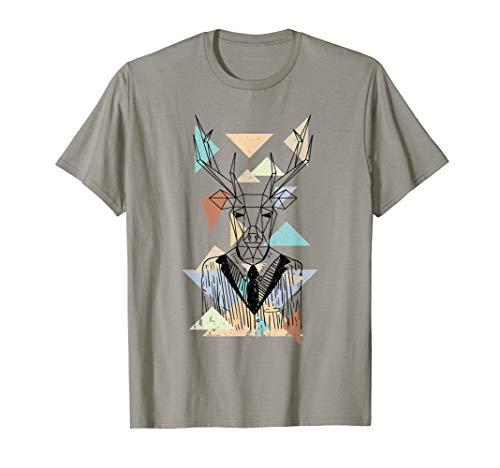 Fractal Geometric Deer Animal Wildlife Graphic T-Shirt