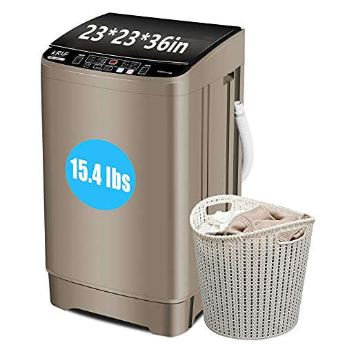 Krib Bling Full-Automatic Washing Machine, 1.7 cu.ft/15.4 lbs Compact Laundry Washer with Drain Pump, 10 Wash Programs 8 Water Levels with LED Display