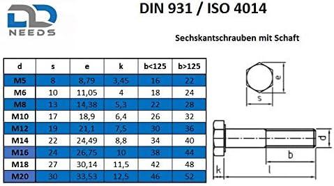 Maschinenschrauben mit Teilgewinde Gewindeschrauben - DIN 931 20 St/ück rostfrei ISO 4014 Edelstahl A2 V2A Eisenwaren2000 M6 x 110 mm Sechskantschrauben mit Schaft
