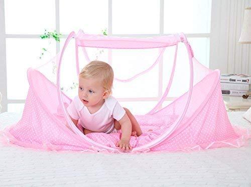 Willlly muggennet voor matras, casual, inklapbaar, chic en kussens, voor kinderen, muggengordijn voor reizen, van katoen en gaas, UV-bescherming, voor reisbed, roze, 1 stuks
