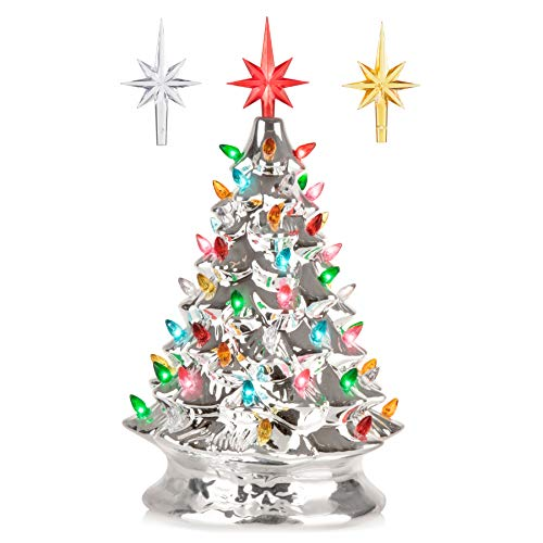 RJ Legend 15-Inch Silver Christmas Mini Ceramic Tree – Festive Lighted Christmas Tree Décor – Vintage Tabletop Christmas Decorations – Retro Winter Tree - Shiny Holidays Décor