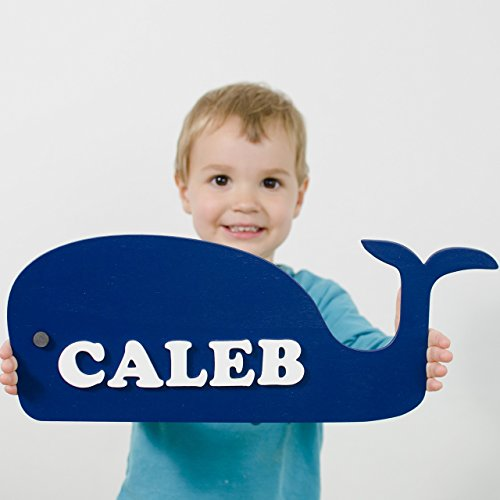 Blue Whale shaped - Personalized Name Plate - Nautical Nursery Decoration
