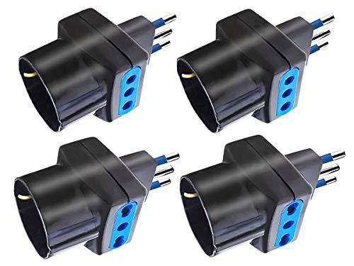LEDLUX Kit 4 Adattatori 3 Posti Spina Elettrica Tripla,Convertitore Presa Schuko,Max 1500W,2 Spina Piccola 10A ,2 Spina Grossa 16A