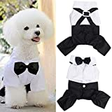 CheeseandU Small Dog Clothes Pet Stylish Wedding Shirt Formal Tuxedo with Black Tie Suit Dog Gentleman Suspender Bow Tie Apparel for Wedding Party Fancy Event Halloween,White&Black