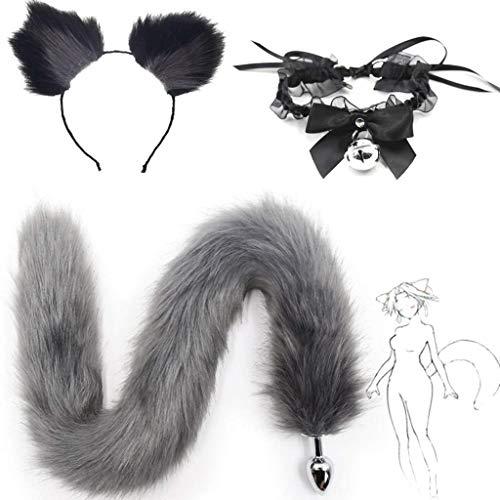 QWYY Katzenmädchen Cosplay Cos-Lace Tie, grau Flauschigen B-ütt P-l-ǔ-g Fuchsschwanz Plüsch und Katzenohren Anime Set for Frauen Glamour weibliche Maskerade Requisiten gesetzt
