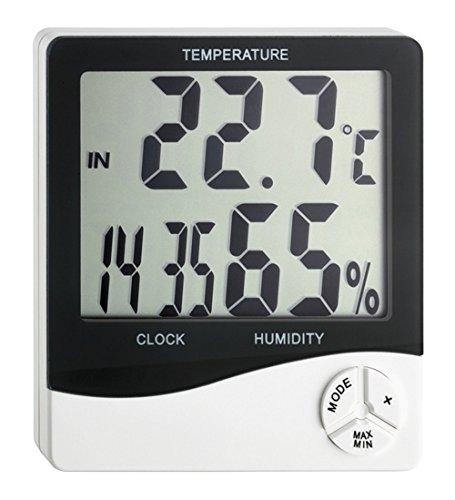 TFA Dostmann Digitales Thermo-Hygrometer, Kontrolle von Innentemperatur und Luftfeuchtigkeit, für ein gesundes Wohnklima, Uhrzeit