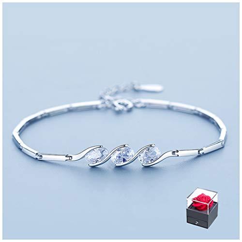 Pulseras para niña Pareja piedra de la suerte pulsera curación de cristal de plata de pulsera for mujer 925 Una boda regalo for la esposa (longitud ajustable) Pulseras para mujer ( Color : B )