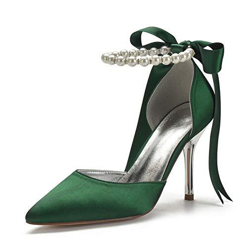 QXue Zapatos de novia de satén para mujer, tacón de aguja, perlas,...