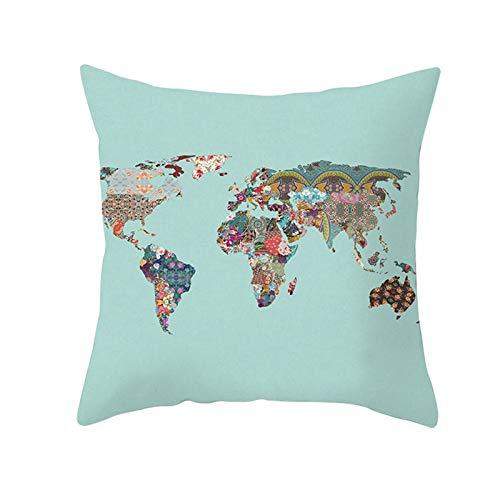 ANAZOZ Funda 50 x 50 Cojin,Cojines Cama Decorativos Multicolor Verde,Mapa del Mundo con Flores Funda Cojines Poliester Fundas de Cojines Sin Relleno