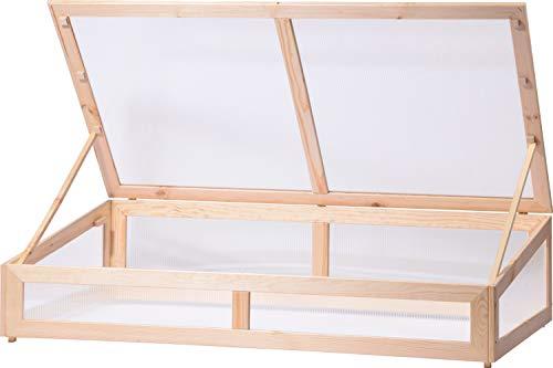 dobar XL Frühbeet-Aufsatz Aufsatzdeckel mit Holzrahmen und transparenten Polycarbonat-Wänden für Hochbeete, 128 x 67 x 31,5 cm, Kiefer, Holz