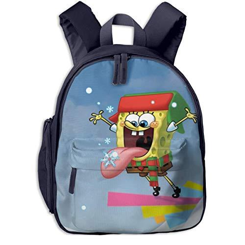 Hdadwy Bob Esponja Feliz Navidad Mochila Escolar, Cool Boy Girl Universal Canvas Bag Travel Bag