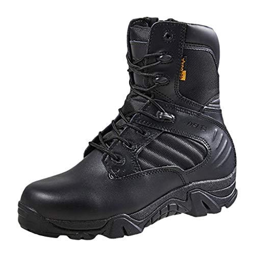Wygwlg Botas de Combate de Cuero Negro para Hombre Botas tácticas del ejército de Altura Media Botas Militares duraderas de la Selva Botas de Combate de acción,Black-41