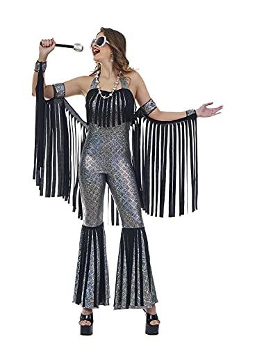 chiber - Disfraz para Mujer años 70 con Flecos. Talla única (S/M)