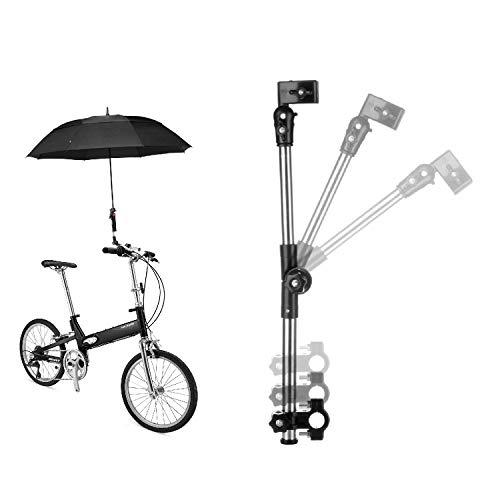 Flexzion Fiets Paraplu Houder Mount Stand, Stuur Universele Klem Connector Frame, Quick Mount Ontkoppelen Verstelbare Lengte Buis Handvat voor Fiets Kinderwagen Rolstoel met Installatie Gadget
