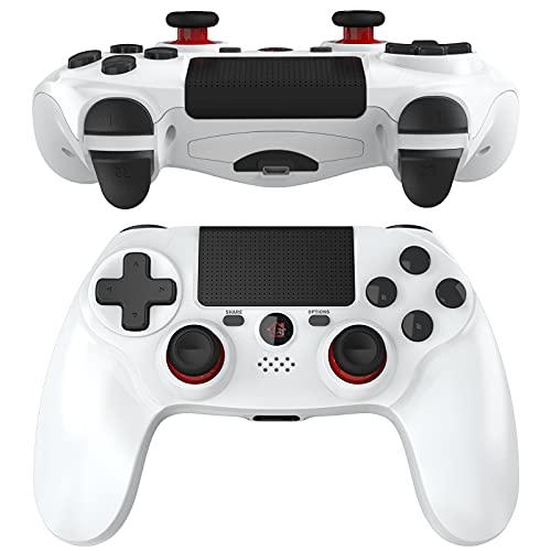 JOYSKY Wireless Controller Bluetooth Gamepad mit Dual Vibration Wiederaufladbarer Remote-Sechs-Achsen-Dual Vibration- und Audio Jack Controller (Weiß)