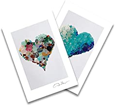 Aqua & Original Sea Glass Heart Postcards. Two Blank, 4x6, Fine Art Best Birthday Cards. Elegant Thank You Notes & Wedding Invitations. Unique Christmas & Mother's Day Gifts for Women, Men & Kids
