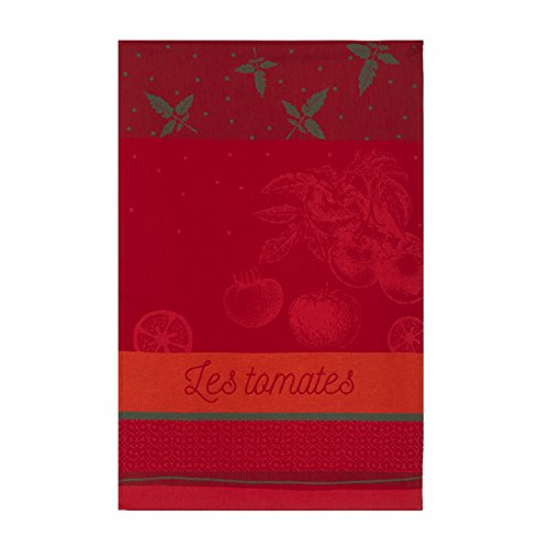 Coucke French Cotton Jacquard Towel, Tomates du Potager, 20-Inches by 30-Inches, Red