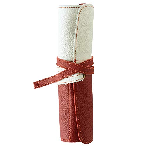[WMY] Cosmetic Brush Case, Roll Type, Made in Japan, Genuine Leather, wmy002-white-red