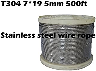 Stainless Steel 304 Wire Rope on Reel, 7x19 Strand Core, 3/16-Inch Bare OD, 500-Feet Length