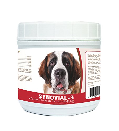 Healthy Breeds Synovial-3 Dog Hip & Joint Support Soft Chews for Saint Bernard - OVER 200 BREEDS - Glucosamine MSM Omega & Vitamins Supplement - Cartilage Care - 120 Ct