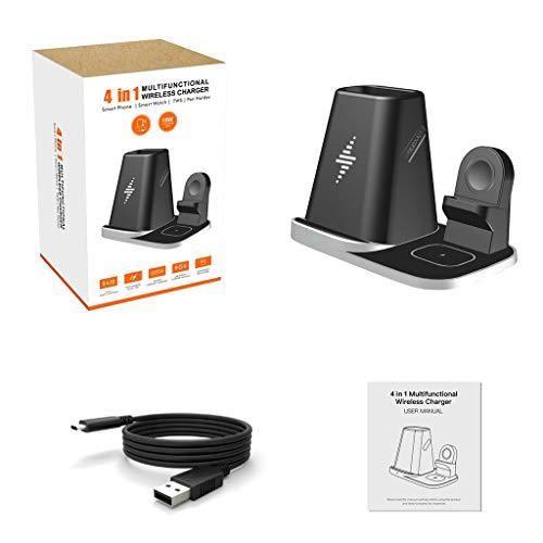 PHILSP Adaptateur Secteur 4in1 Qi Station de Charge de Support de Chargeur sans Fil pour téléphone Portable Negree